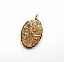 Vintage London 1974 9ct Gold GEORG JENSEN PATTERNED OVAL PHOTO LOCKET 7.9g
