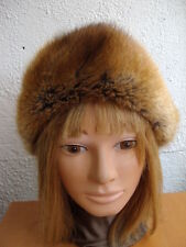"MINT BROWN MUSKRAT FUR HAT WOMEN WOMEN SIZE 21.5"" SMALL $16 OFF"