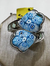 """Murano by """"Alan K"""" sterling silver , enamel and Murano Glass Ring"""