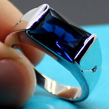 Size 9 Classic Men Princess Cut 3ct Blue Sapphire 925 Silver Handmade Band Ring
