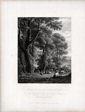 Stampa antica PAESAGGIO CON PASTORE A CAPRE presso alti alberi 1840 Old print