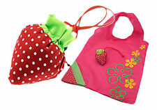 5X UK Folding Eco Shopping Travel Bag Pouch Tote Handbag Strawberry Reusable