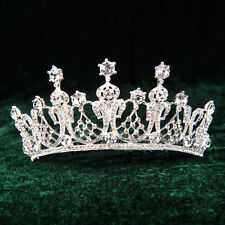 Royal Crown Headband Crystal Rhinestone Jeweled Wedding Veil Tiara w/ Hair Comb
