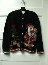"""NORTHERN ISLES"" BRAND APPLIQUED ""SANTA / TREE"" SWEATER, SIZE SMALL - NWT"