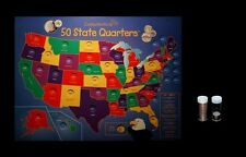 1999 thru 2008 P Statehood Quarter Collection Wall Mount Map with 51 U.S. Coins