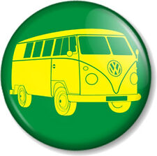 VW Camper Van Logo 25mm Pin Button Badge Retro Volkswagen Green & Yellow Hippie