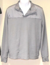 Mens Banana Republic Long Sleeve Woven Gray Sweater Zip Collar Polo Shirt L GUC