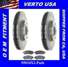 Verto USA Set Of 2 Disc Brake Rotors & Pads- Front 55034X2-Pads
