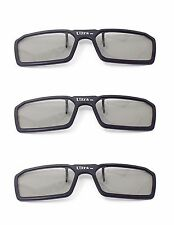 New 3 Pairs of Black 3D Clip on 3d Glasses Passive 3d Tvs Cinema 3D RealD Imax