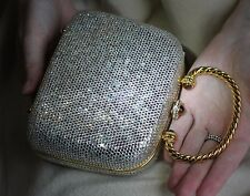 JUDITH LEIBER POSH HANDLED JEWELED SWAROVSKI CRYSTAL MINAUDIERE EVENING BAG