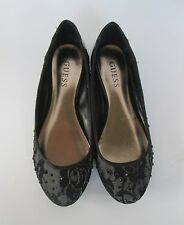 Guess Womens Lovely Black Mesh Lace Sequin Ballet Flats Shoes  7 M