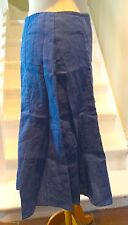 "PRELOVED DEEP ROYAL BLUE 100% LINEN LONG SKIRT PER UNA UK10 - WAIST 30"" HIP42"""