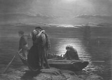 SON LEAVES HOME FOR NEW WORLD, HUGS CRYING MOTHER ~ Old 1866 Art Print Engraving