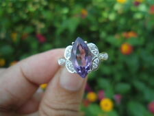 NATURAL Purple AMETHYST & White CZ Birthstone Sterling 925 Silver RING S6.75