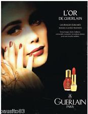 PUBLICITE ADVERTISING 095  1992  GUERLAIN  maquillage vernis rouge lèvres L'OR