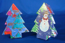 2 decorated inside & out Christmas Tree treasure gift boxes with lids 4½""