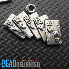 10 Silver Plated Metal Playing Cards Poker Charms 25mm Jewellery Making Findings