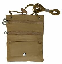 Tan ONE PIECE (1) PASSPORT Leather ID Bag Neck Pouch Wallet FREE SHIP Nice