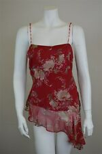 I.C.E. 100% Silk Red Beige Floral Bead Strap Sleeveless Blouse Tank Top Size M