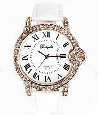 Women Ladies Girl White Color Crystal Leather Fashion Analog Wrist Watch