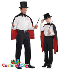 Adults Childs Black & Red Magician Cape Magic Fancy Dress Costume Accessory