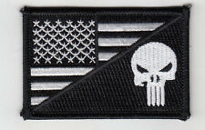 "10 Punisher in USA Flag (B/W) Embroidered Patches 3""x2"""