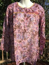 New_Boho Peasant Kurta Shirt_Paisley-Print Cotton Tunic Top_Sizes S, M, L, XL