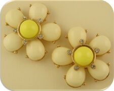 2 Hole Slider Beads QTY 2 Flowers Ivory & Yellow Lucite 2 Layer w/Clear Crystals