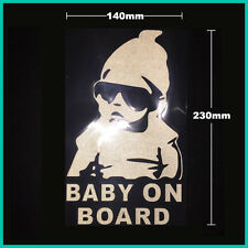 Cool Baby on Board Funny Car Bumper Window Sticker Sign Reflective White 23x14cm