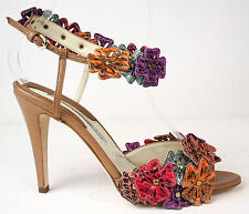 Brian Atwood Camel & Multi-Color Flowers Ankle Strap Sandals Heels 37 6.5 $1295