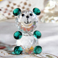 Green Crystal Cut Glass Animal Figurines Bear Paperweights Collectibles Ornament