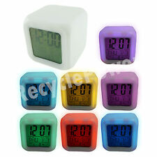 7 color LED Change Glowing Digital Alarm Clock Temperature Thermometer Calendar