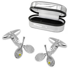 Crossed Tennis Racquets & Ball Cufflinks, 925 Sterling Silver