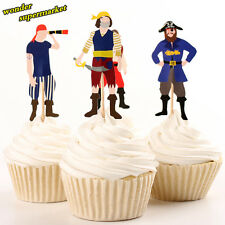24 Pcs Cupcake Topper Party Supplies Pirate Cake Decoration Inserted Card