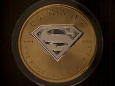 2016 24K Two Tone Gold Gilded Canada Superman 1 Troy Oz Coin $5 Dollar S-Shield