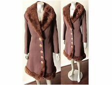Sweetheart Princess Shearling Fur Vintage 60s Brown Sheep Couture A Line Coat ML