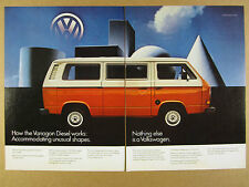 1982 VW Volkswagen VANAGON Diesel orange van bus photo vintage print Ad