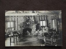 MOOSE HEAD OVER STONE FIRE PLACE IN RUSTIC  CABIN - VTG REAL PHOTO POSTCARD