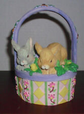 CERAMIC EASTER BASKET WITH BUNNIES
