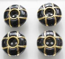 set of 4 retro black gold fancy chunky buttons 30mm unusual vintage style