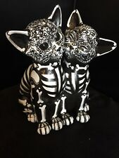 New Day Of The Dead Cats Sugar Skull Kitty FIGURE STATUE COLLECTIBLE Ooak B&W