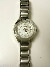 (W) FOSSIL SILVER CRYSTAL WATCH AM4229 10 ATM PRE-OWNED WORKING BATTERY