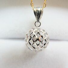 J.Lee Solid 18K White Gold Pendant Hollow Ball Design Pendant Au750 mm H