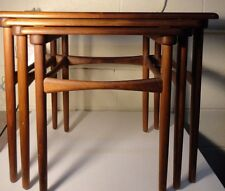 Mid Century Modern Teak wood Danish Set of 3 Stacking Nesting Tables Denmark