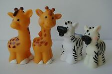 Lot 4 Fisher Price Little People Zoo Animals Ark Pairs Giraffe Zebra