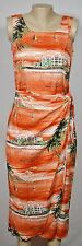 CONNECTED APPAREL Orange Tropical Hotel Beach Sailboat Print Dress 6 Wrap Skirt
