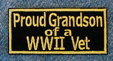 PROUD GRANDSON OF A WWII VET  Biker Motorcycle Patch by DIXIEFARMER