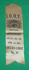 1905 IOOF ODD FELLOWS LODGE RIBBON CHELSEA IT INDIAN TERRITORY OKLAHOMA OK CLUB