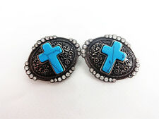 """TWO 1½"""" WESTERN SILVER TURQUOISE CROSS COWBOY ARTS & CRAFT REPAIR CONCHO TACK"""