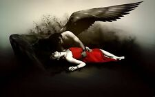 Large Framed Print - Dark Gothic Angel Holding his Fallen Bride (Picture Poster)